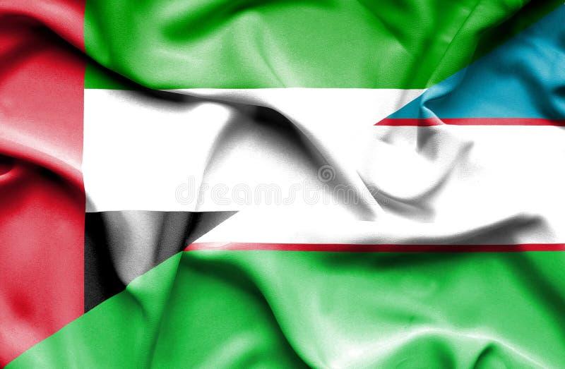 Golvende vlag van Oezbekistan en Verenigde Arabische Emiraten royalty-vrije illustratie