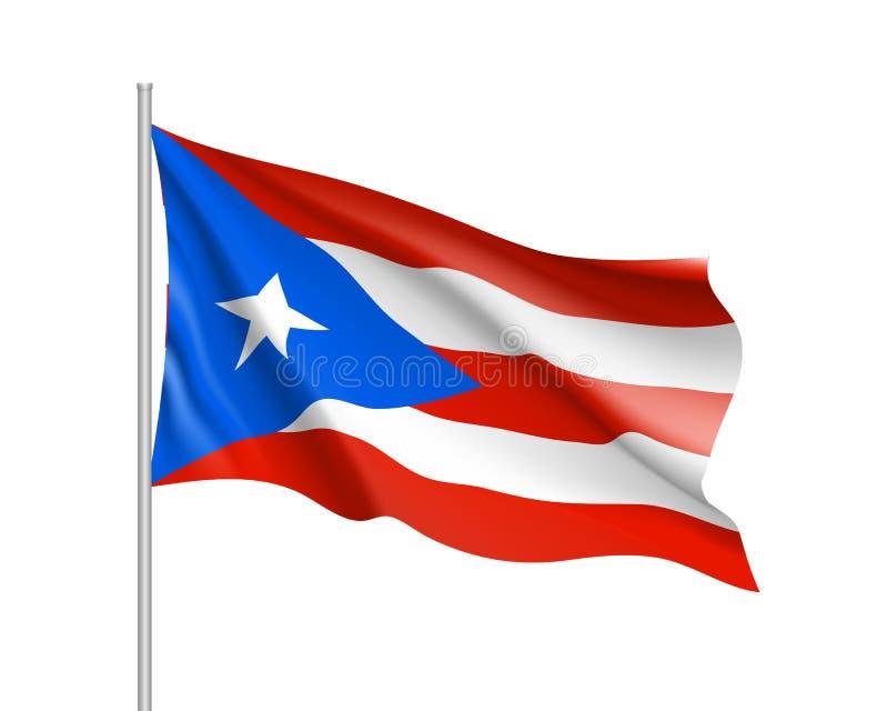 Golvende vlag van Puerto Rico in Cara?bische overzees royalty-vrije illustratie