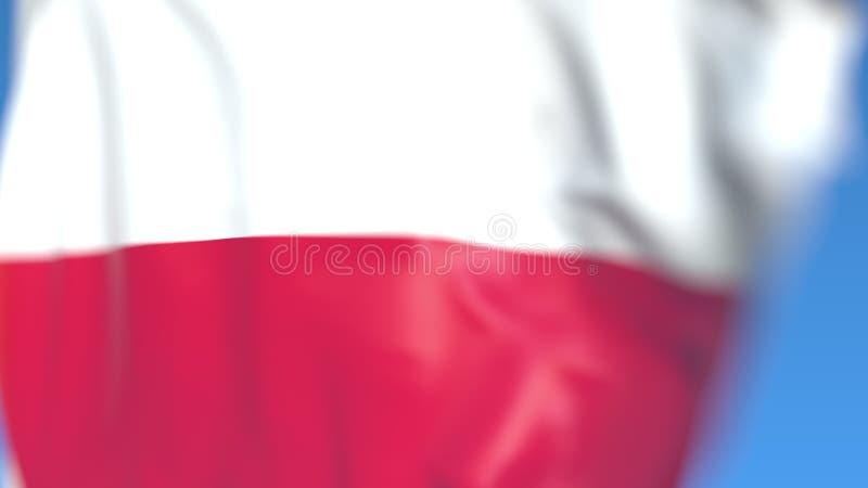 Golvende vlag van Thuringia, een staat van Duitsland Close-up, het 3D teruggeven stock foto