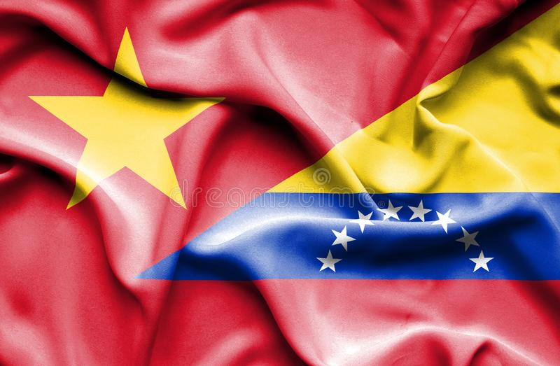 Golvende vlag van Venezuela en Vietnam royalty-vrije stock foto's