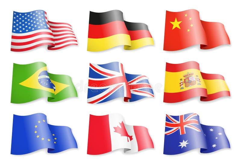 Golvende vlaggen van populaire landen op een witte achtergrond stock illustratie