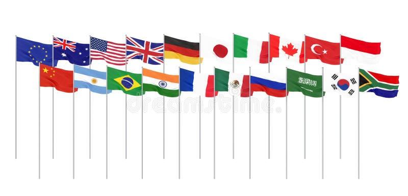 Golvende vlaggenlanden van ledengroep van Twintig Grote G20 in Japan in 2020 Ge?soleerd op wit het 3d teruggeven Illustratie stock foto