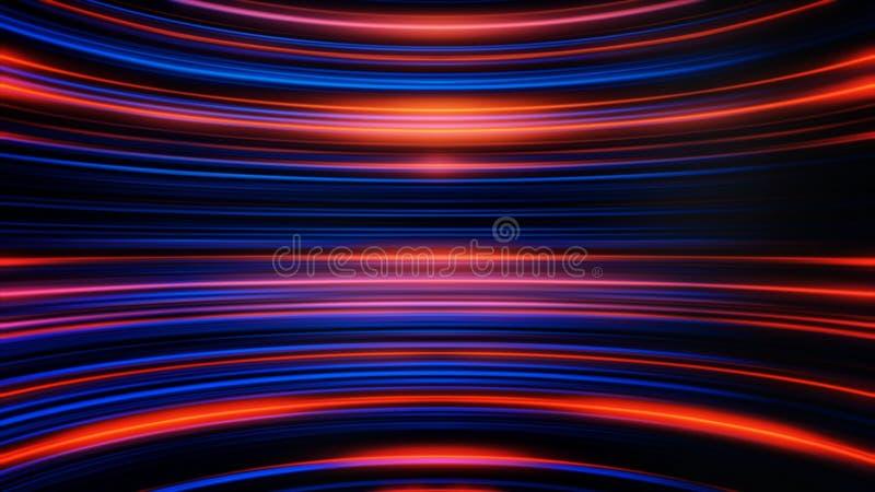 Golvende zich eindeloos en aan elkaar evenwijdige strepen die van het flikkeren licht bewegen Abstracte kleurrijke achtergrond me vector illustratie