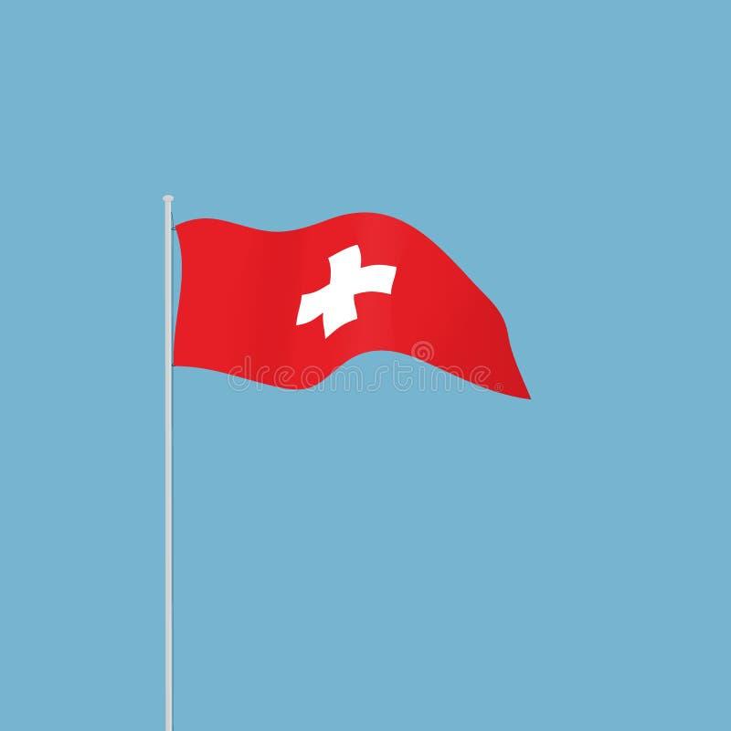 Golvende Zwitserse vlag stock illustratie