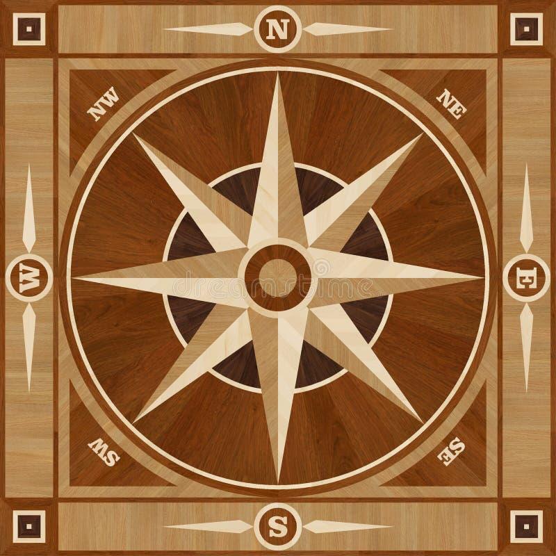 Golvet för medaljongdesignparketten, kompass steg royaltyfri illustrationer