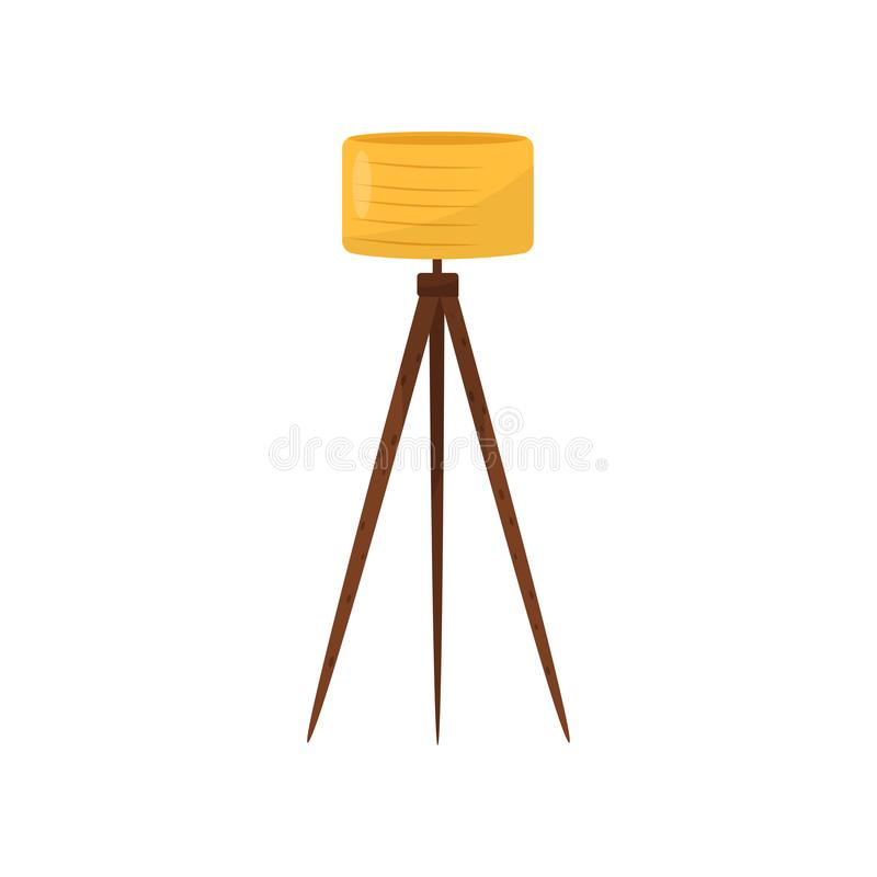 Golvlampa med gul lampskärm och tre träben Objekt för modern inredesign Beståndsdel av den hem- dekoren plant vektor illustrationer