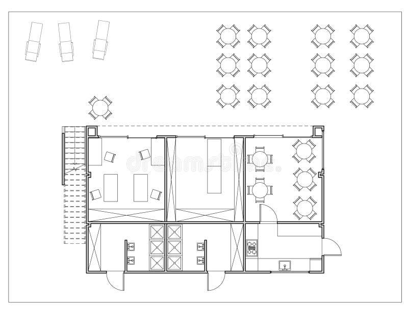 Golvplan av den lilla campa grunden stock illustrationer