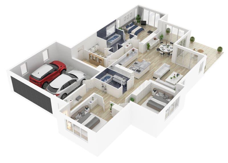 Golvplan av en illustration för bästa sikt 3D för hus vektor illustrationer