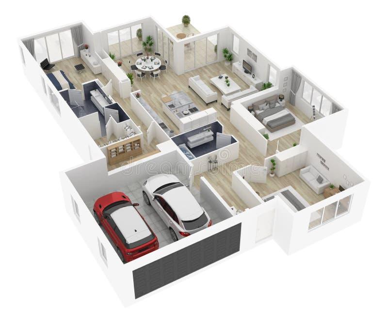 Golvplan av en illustration för bästa sikt 3D för hus stock illustrationer