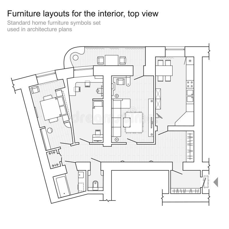Golvplan - plan för bästa sikt För möblemangsymboler för normal hem- uppsättning royaltyfri illustrationer