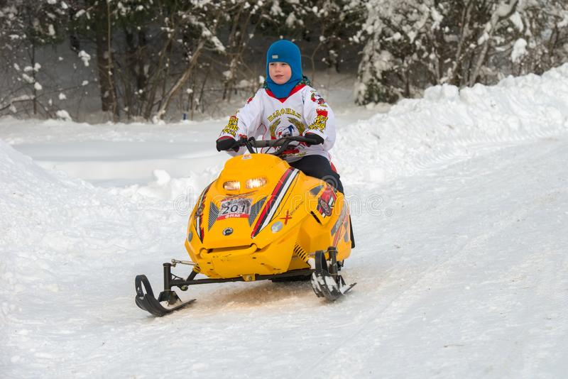 Cross Snowmobile Rider Quickly Editorial Stock Photo - Image