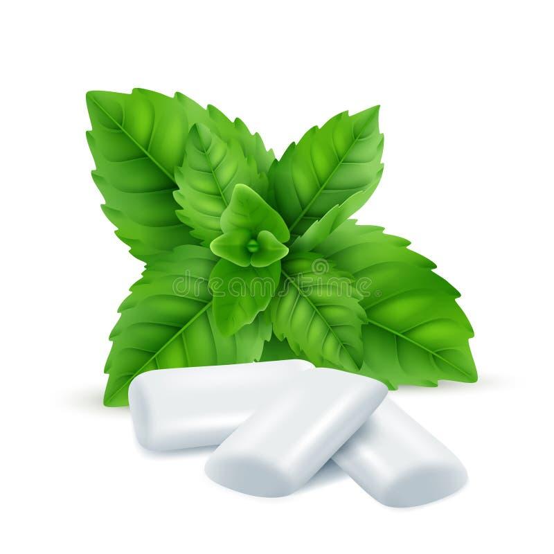 Goma da hortelã O mentol fresco sae com os doces brancos da goma para respirar imagens realísticas do vetor fresco do cheiro ilustração stock