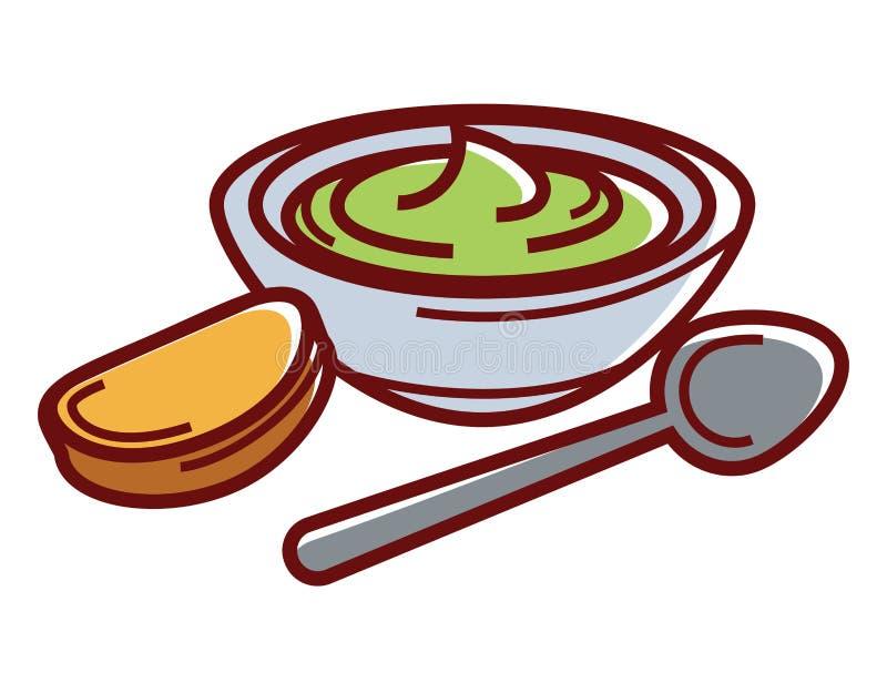 Goma del aguacate en cuenco con la pequeñas tostada y cuchara libre illustration