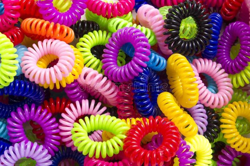 Gomas para el pelo elásticos espirales imagen de archivo libre de regalías