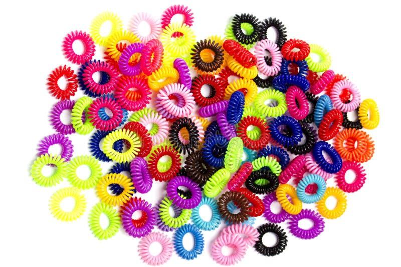 Gomas para el pelo elásticos espirales imagenes de archivo