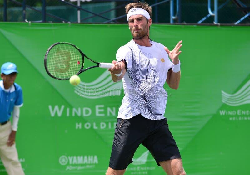 Gombos Norbert, tennisspeler van Slowakije De gezamenlijke wind Energery Bangkok opent 2016 ATP uitdager, Bangkok Thailand op 3 s royalty-vrije stock afbeeldingen