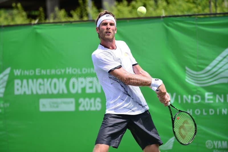 Gombos Norbert, tennisspeler van Slowakije De gezamenlijke wind Energery Bangkok opent 2016 ATP uitdager, Bangkok Thailand op 3 s stock afbeelding
