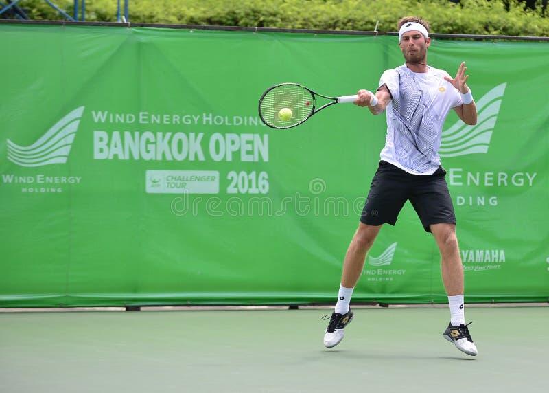 Gombos Norbert, tennisspeler van Slowakije De gezamenlijke wind Energery Bangkok opent 2016 ATP uitdager, Bangkok Thailand op 3 s stock foto