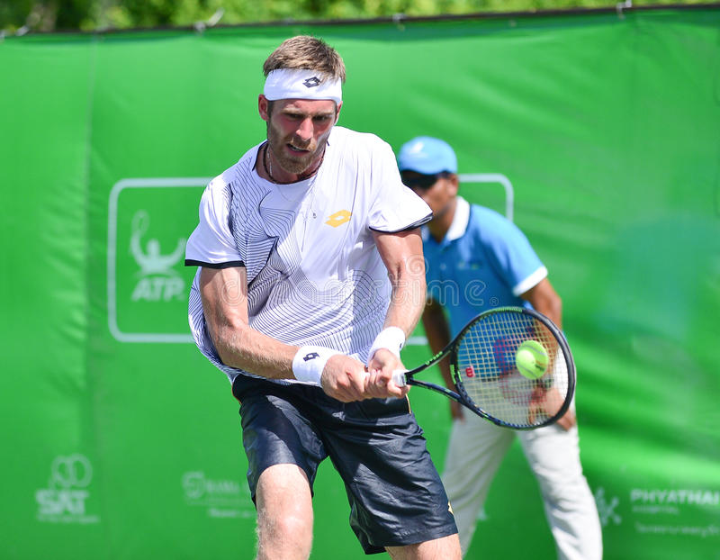 Gombos Norbert, tennisspeler van Slowakije De gezamenlijke wind Energery Bangkok opent 2016 ATP uitdager, Bangkok Thailand op 3 s royalty-vrije stock foto's