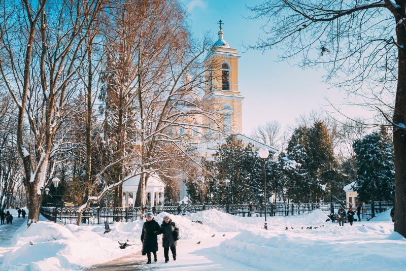 Gomel, Λευκορωσία Δύο Γυναίκες Που Περπατούν Στο Χειμερινό Πάρκο Της Πόλης Το Διάσημο Τοπικό Αξιοθέατο Είναι Ο Καθεδρικός Ναός Το στοκ εικόνα με δικαίωμα ελεύθερης χρήσης