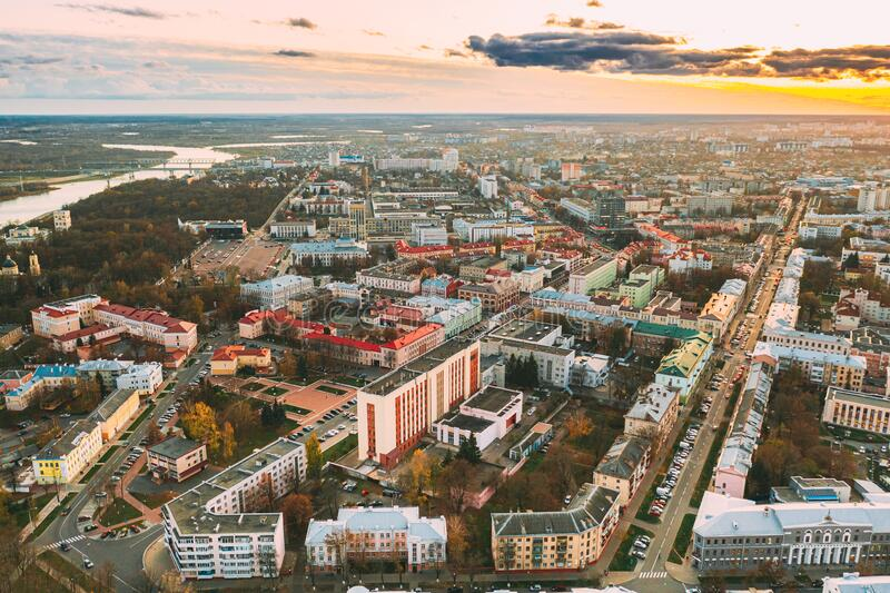 Gomel, Belarus. Aerial View Of Homiel Cityscape Skyline In Autumn Evening. Residential District During Sunset. Bird`s. Eye View royalty free stock photography