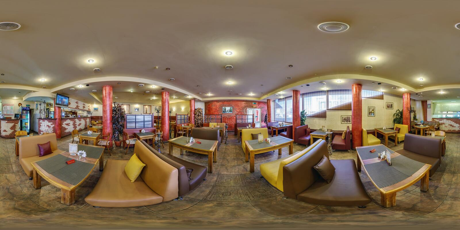 GOMEL, BELARUS - APRIL 27, 2012: full 360 degree seamless panorama in equirectangular spherical equidistant projection in stylish. Arabic cafe, VR content royalty free stock images