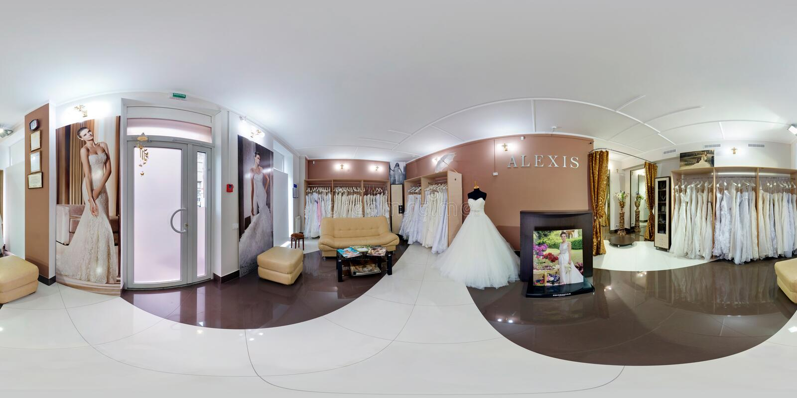 GOMEL, BELARUS - APRIL, 2012: Full seamless panorama 360 degrees angle view in stylish beauty wedding saloon in equirectangular royalty free stock photos