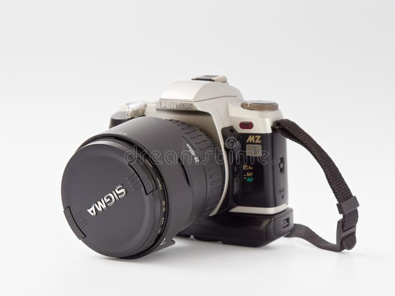 GOMEL, BELARUS - DECEMBER 11, 2018: Pentax MZ 6 camera on white background.  stock photo