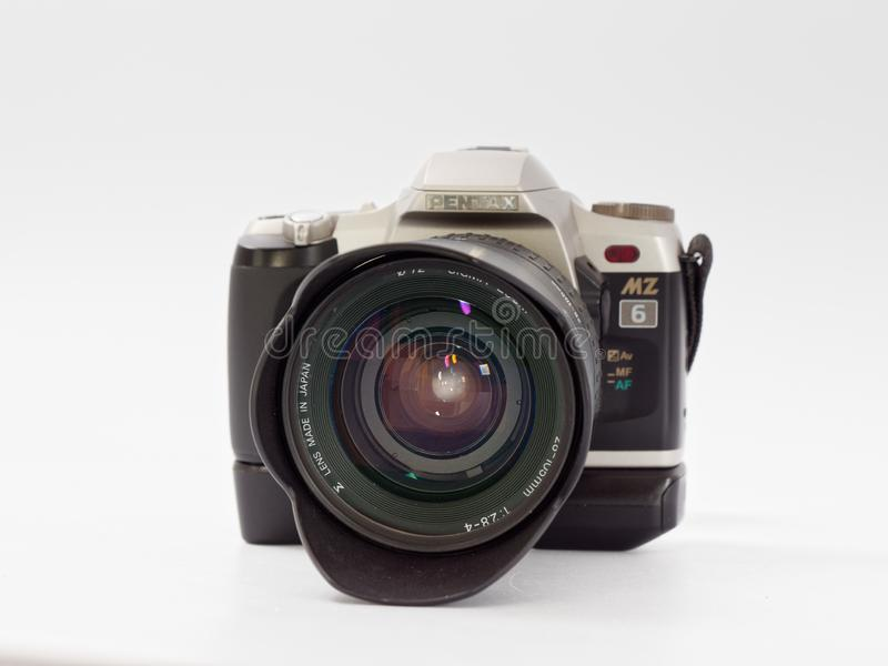 GOMEL, BELARUS - DECEMBER 11, 2018: Pentax MZ 6 camera on white background.  stock photos