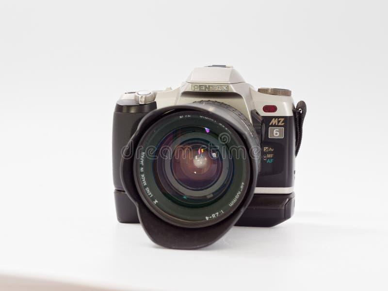 GOMEL, BELARUS - DECEMBER 11, 2018: Pentax MZ 6 camera on white background.  royalty free stock images