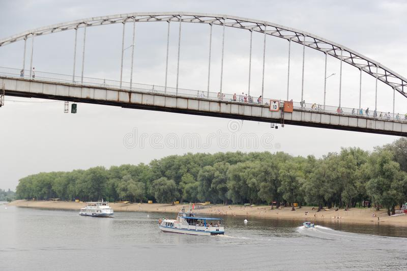 GOMEL, BELARUS - July 25, 2018: pleasure boats on the river Sozh. royalty free stock images