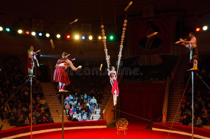 Tour of Moscow Circus named after Nikulin. Group jugglers under direction of Lyubov Karsanova. GOMEL, BELARUS - MARCH 23, 2018: Tour of Moscow State Circus named royalty free stock images