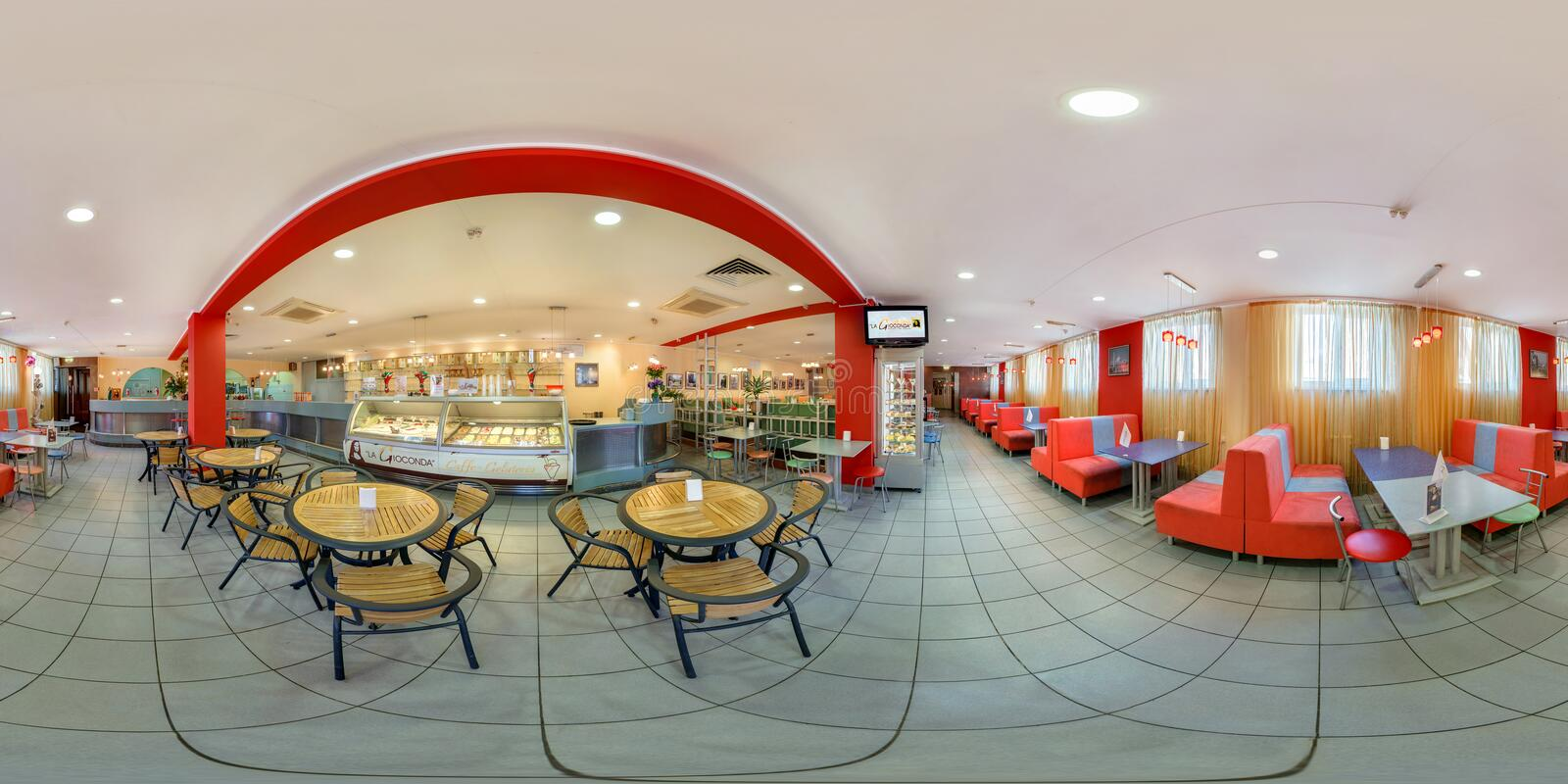 GOMEL, BELARUS - MAY 26, 2012: Full 360 panorama in equirectangular spherical equidistant projection in interier children`s cafe. With sweets and ice cream stock image