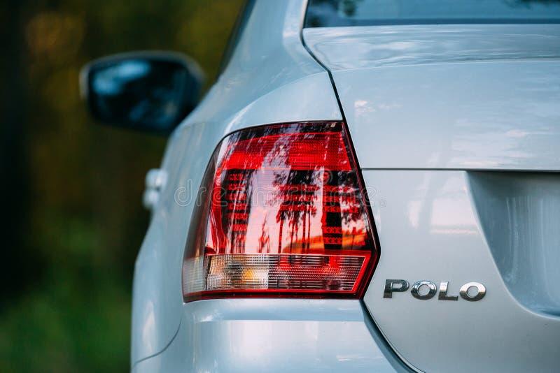 Red LED Rear Lights Of Gray Color VW Volkswagen Polo Vento Sedan. Gomel, Belarus - September 9, 2016: Red LED Rear Lights Of Gray Color VW Volkswagen Polo Vento stock image