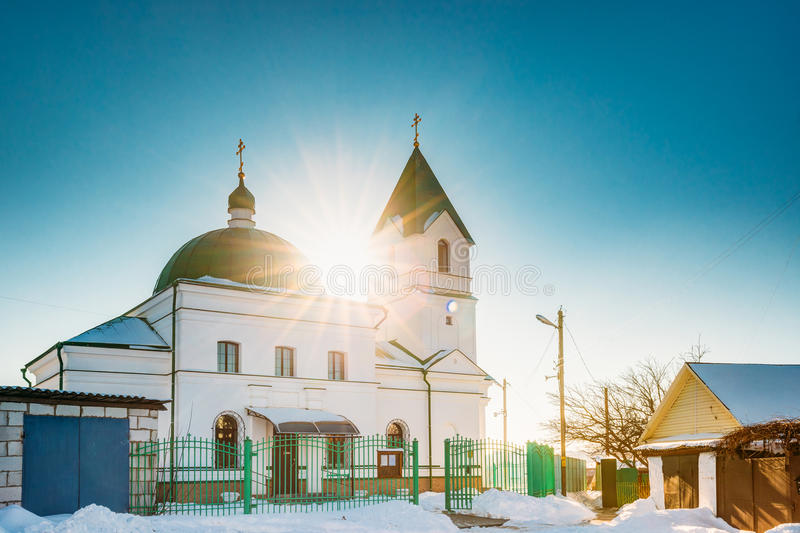 Gomel, Belarus. Sun Shining Over Church Of St Nicholas The Wonderworker In Sunny Winter Day. stock photography