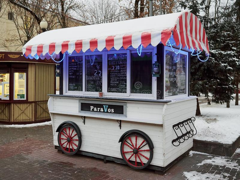 GOMEL BIAŁORUŚ, LISTOPAD, - 28, 2018: mini caf na kołach fotografia stock