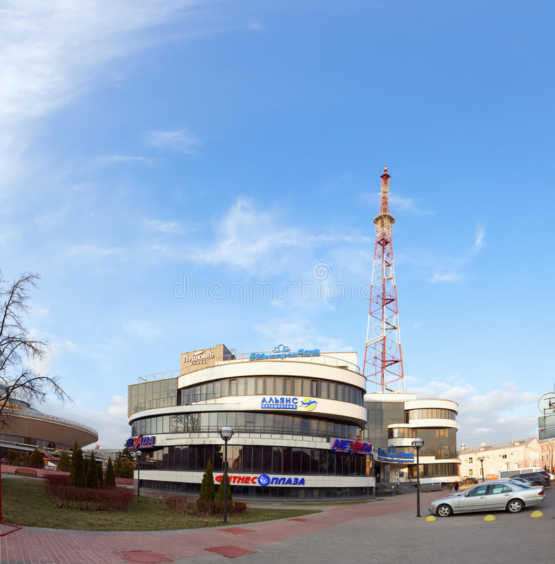 Gomel Białoruś, Marzec, - 29, 2016 centrum biznesu Alexandrov placów Telewizi wierza Sovetskaya fotografia royalty free