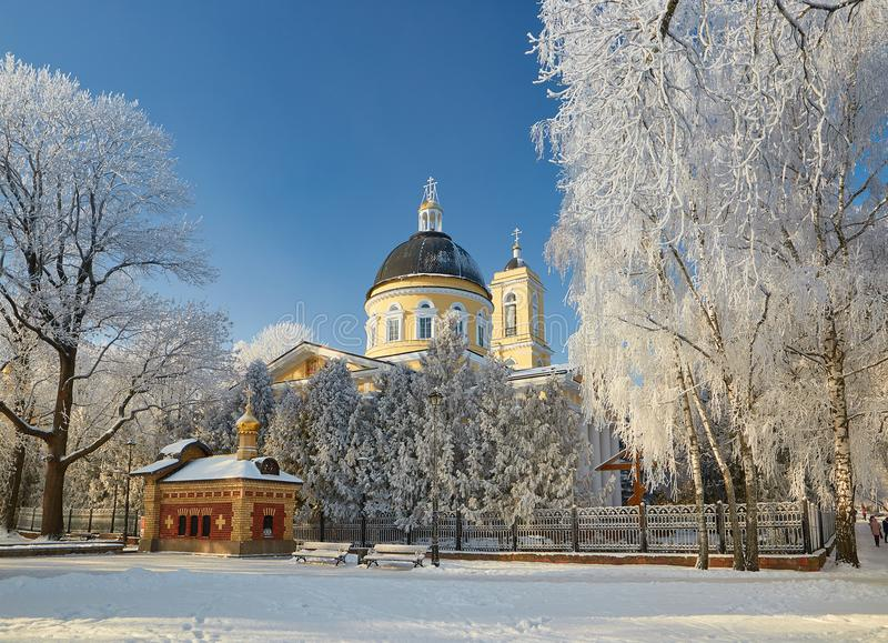 GOMEL BIAŁORUŚ, STYCZEŃ, - 23, 2018: Peter i Paul katedra w miasto parku w lodowatym mrozie zdjęcie royalty free