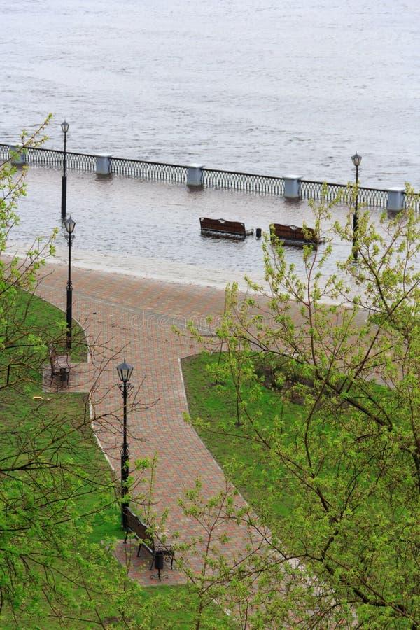 Gomel, Bielorrússia - uma inundação no rio embankment fotos de stock