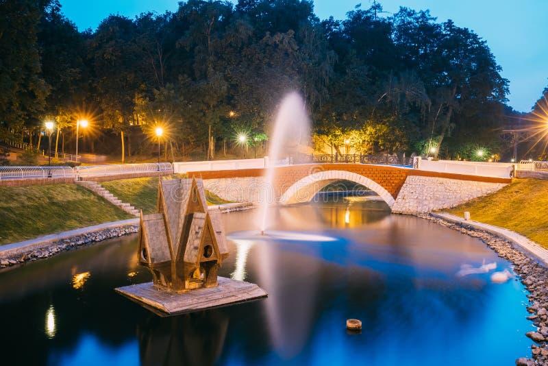 Gomel, Homiel, Białoruś Sceniczny widok Parkowy Watercourse kanał obraz stock