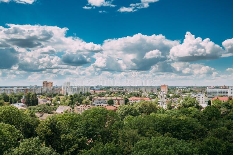 Gomel, Wit-Rusland Cityscape en Architectuur Hoogste Luchtmening van F stock fotografie