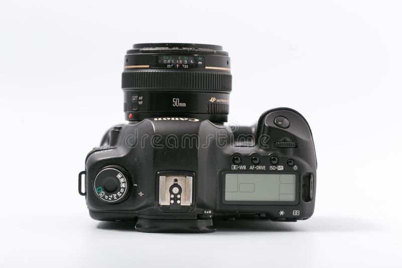 GOMEL, WIT-RUSLAND - 9 November 2017: digitaal MARK 2 van cameracanon met lens royalty-vrije stock foto's