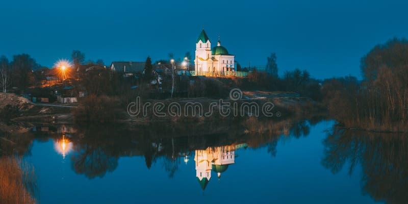 Gomel, Wit-Rusland Panorama van Kerk van St Nicholas The Wonderworker In Lighting bij Avond of Nachtverlichting royalty-vrije stock fotografie
