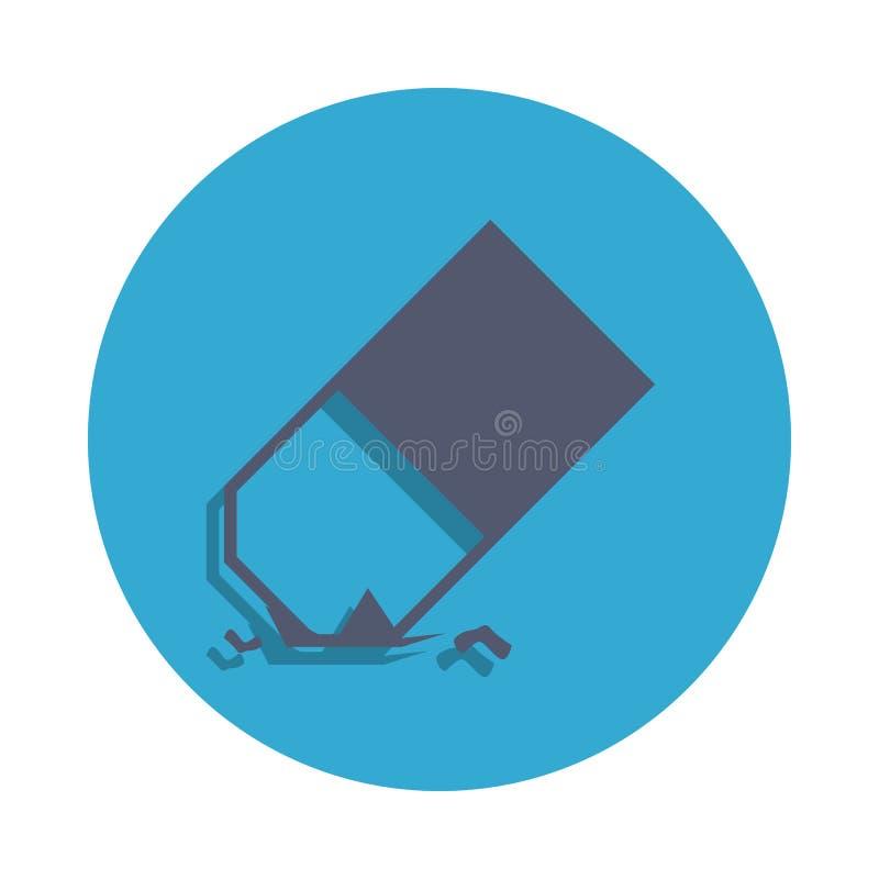 gomme de crayon colorée dans l'icône bleue d'insigne Élément d'icône d'école pour les apps mobiles de concept et de Web L'icône d illustration de vecteur