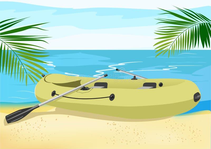 Gommone sulla riva di mare illustrazione vettoriale
