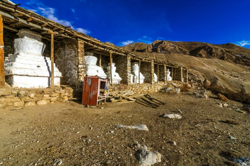 Gompa - Nako Village, Kinnaur Valley, Himachal Pradesh. Nako is a village in the Himalayas of northern India, located near the Indo-China border in the Trans royalty free stock photography
