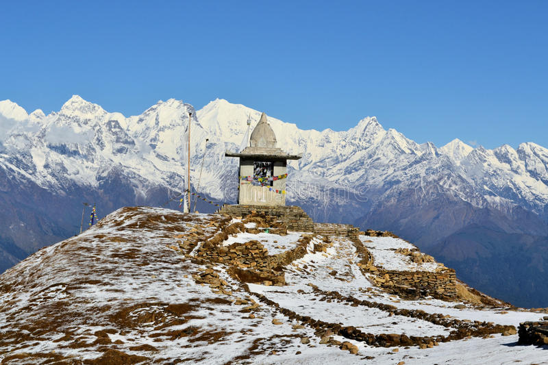 Gompa on a peak in Himalaya mountains stock photo