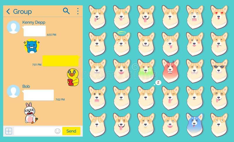 Gonów majcherów Psi Emoticons Ustawiający, strona internetowa ilustracji