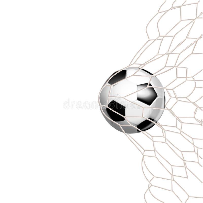 ?gonblick f?r m?l f?r match f?r fotbolllek med bollen i det netto stock illustrationer