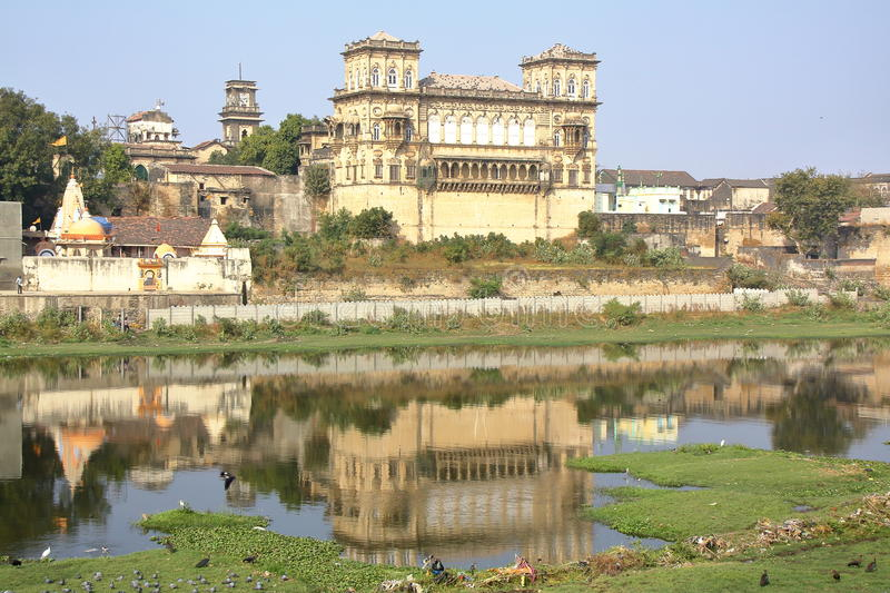 GONDAL, GUJARAT, INDIA: Reflections of the Naulakha Palace. Reflections of the Naulakha Palace in Gondal royalty free stock images